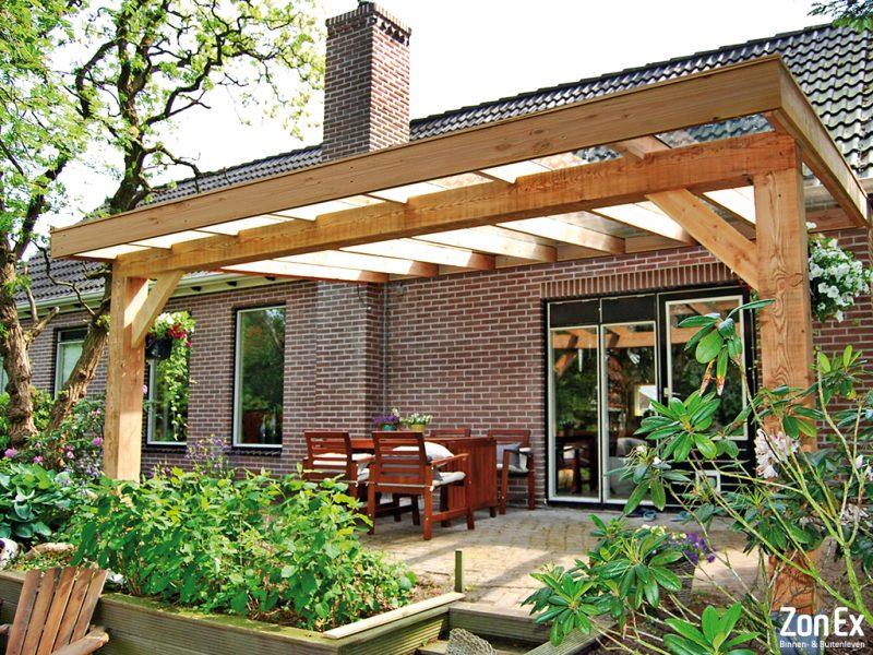 Zonex houten terrasoverkapping beleef de natuur for Houten veranda