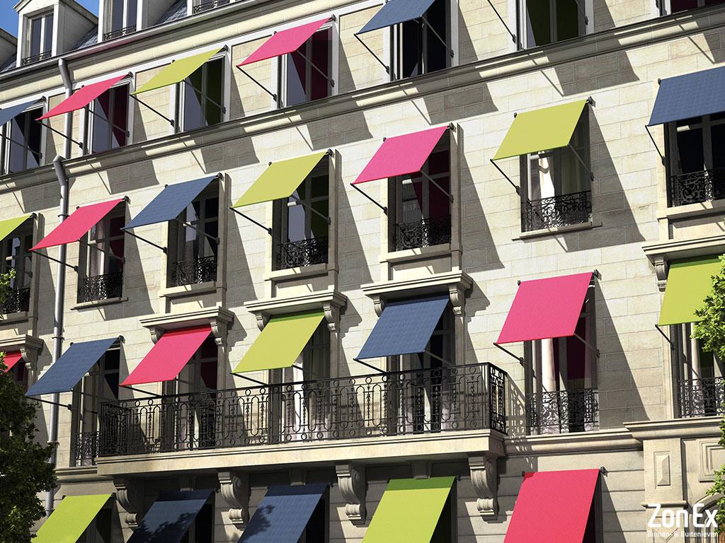Uitvalschermen zonwering appartementengebouw