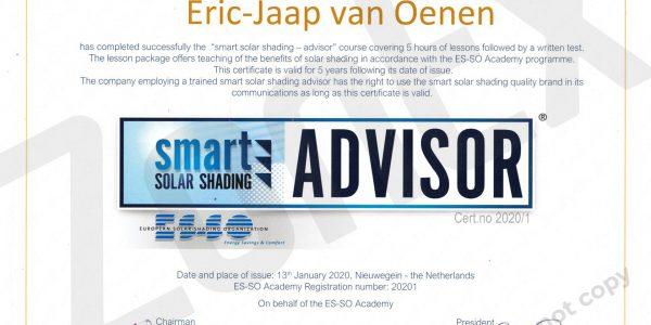smart advisor solar certificaat